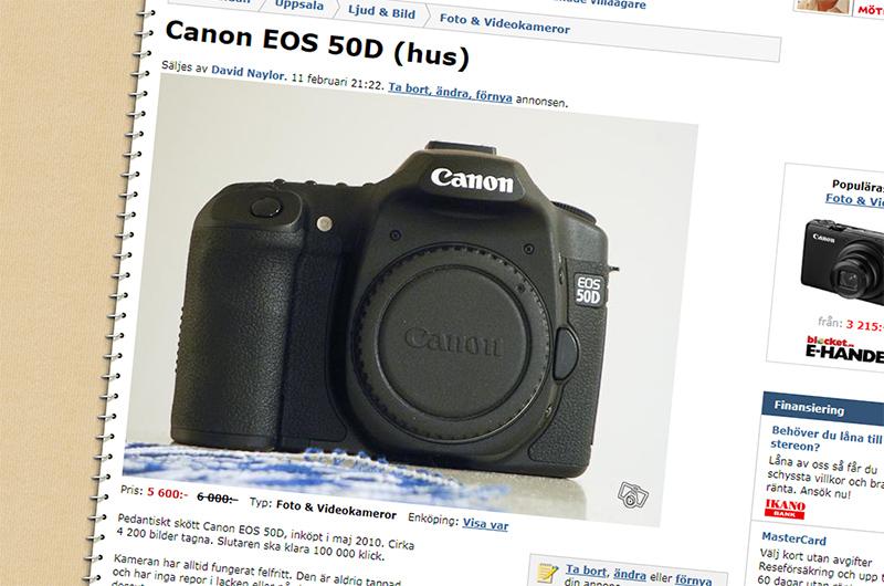 Min Canon EOS 50D säljes på blocket.