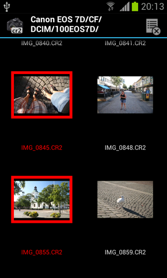 screenshot CR2-Thumbnailer multiselect mode