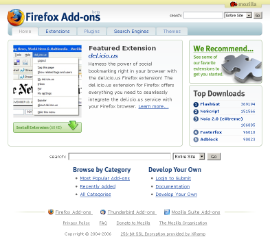 Screen shot of addons.mozilla.org, 2005-11-30