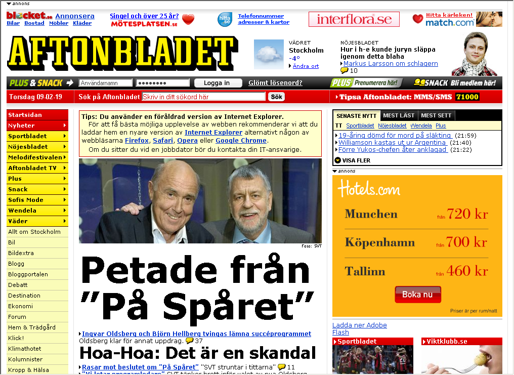 Screenshot of Aftonbladet.se IE6 warning note.