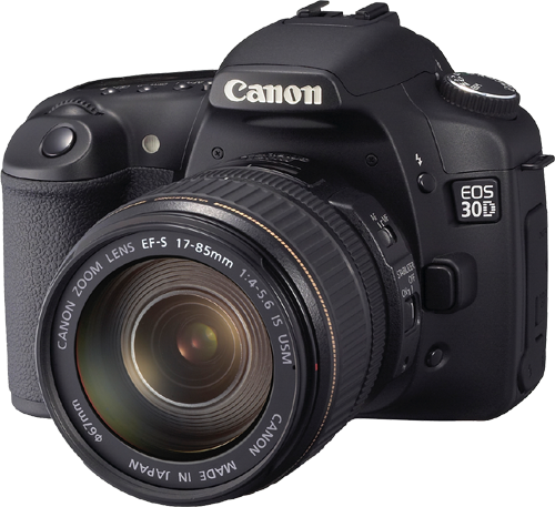 Canon EOS 30D on a transparent background.