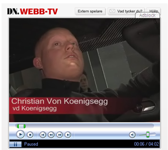 Screenshot of video interview with Christian von Koenigsegg.
