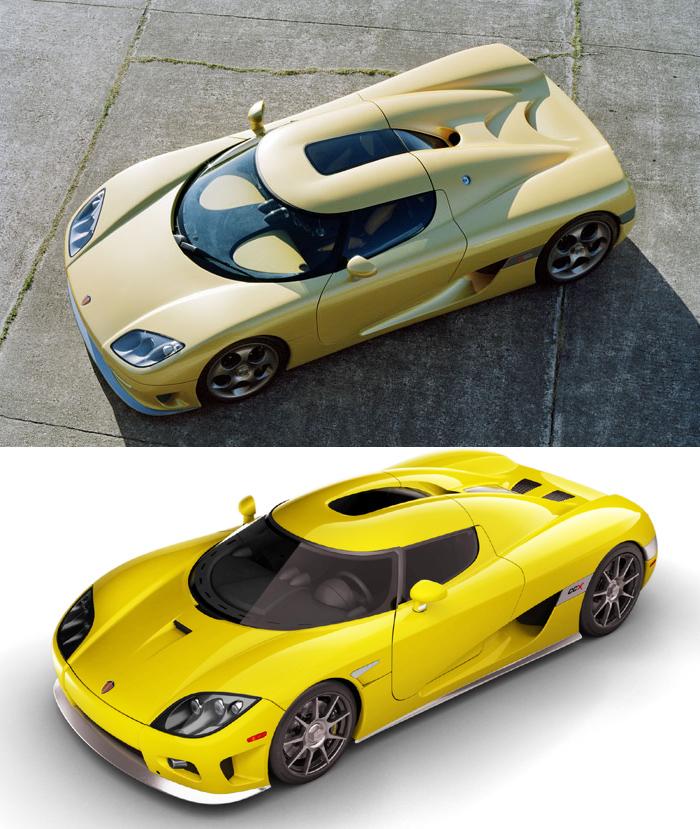 Shot of Koenigsegg CCR and CCX from above