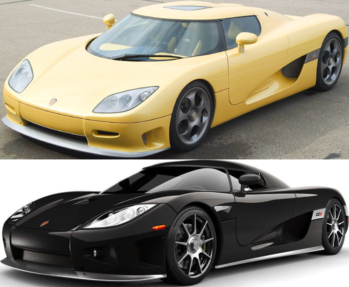 Front/side shot of Koenigsegg CCR and CCX