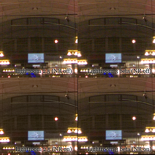 Comparison of noise reduction in Lightroom 2 and 3 beta.