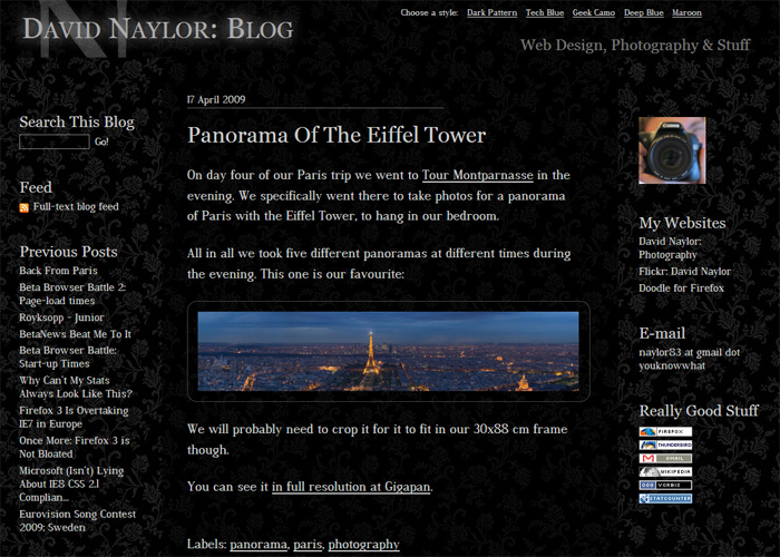Screenshot of my old blog design.