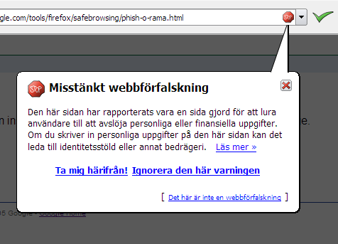 Screenshot Doodle Firefox 2: Phishing Filter