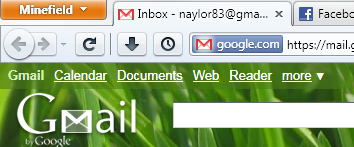 Firefox 4 beta with the tabs in the title bar.