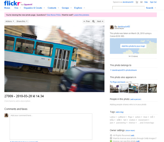 Screenshot of the new Flickr photo page.