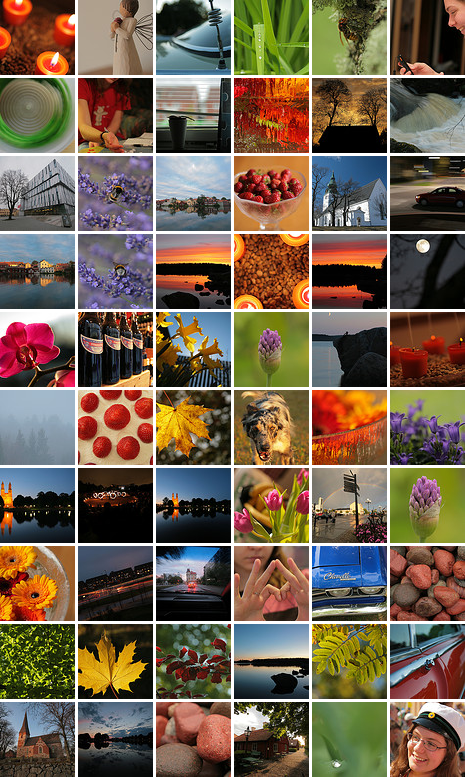Thumbnails of favourites from Flickr