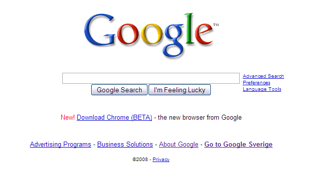 Screenshot of Google.com with Chrome promotion