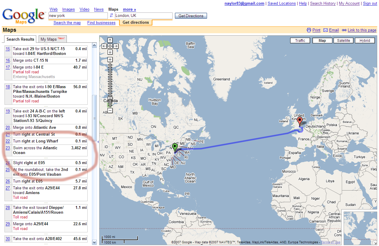 Of google maps showing driving instructions from new york to london
