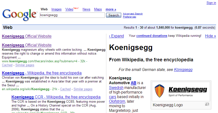Screenshot of the Googlepedia Firefox extension in action.
