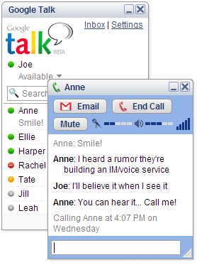 A screenshot of Google Talk.