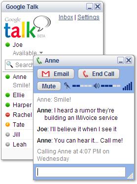 A screenshot of Google Talk.