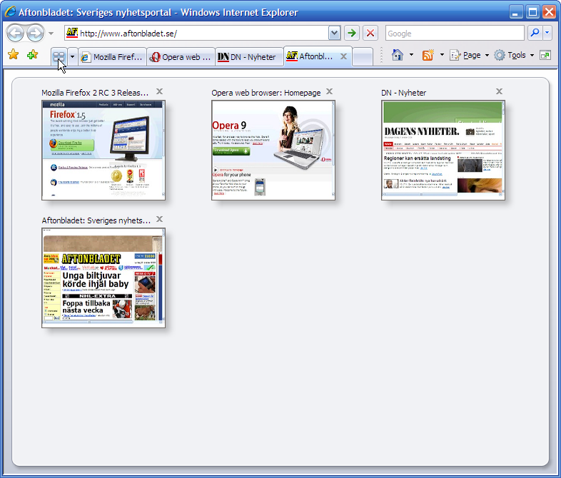 Screenshot of IE7 (Internet Explorer 7) Quick Tabs feature