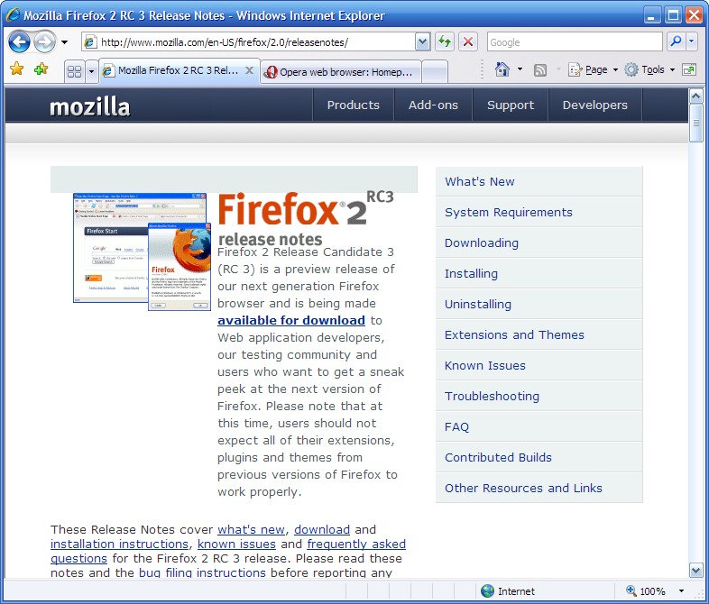 Screenshot of IE7 (Internet Explorer 7)