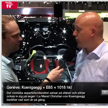 Screenshot of video interview with Christian von Koenigsegg