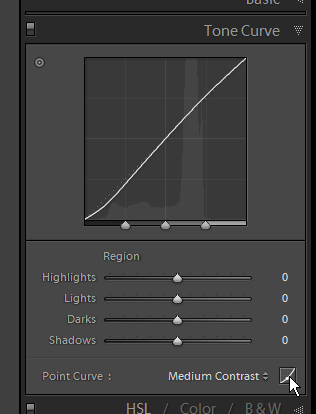 Screenshot of the tone curve panel in Lightroom 3 beta 2.