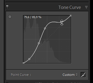 Screenshot of a custom tone curve in Lightroom 3 beta 2.