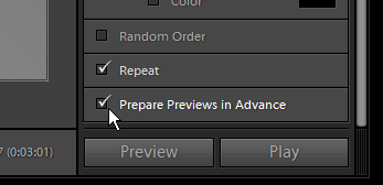 Screenshot of Lightroom 3 beta 2 prepare previews in advance option.