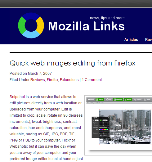 Cropped screenshot of the Mozilla Links website