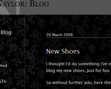 Screenshot of David Naylor's new dark blog design.