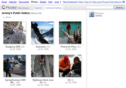 Screenshot of a Picasa gallery