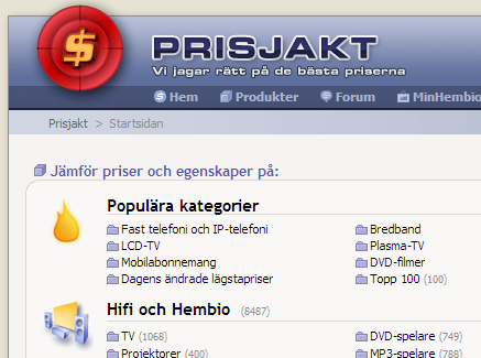 Screenshot of prisjakt.nu