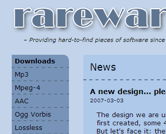 Cropped screenshot of the preliminary redesign or rarewares.org.