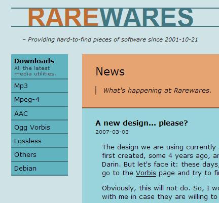 Screenshot of new Rarewares site