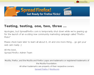 Screen shot of spreadfirefox.com, 2005-11-30