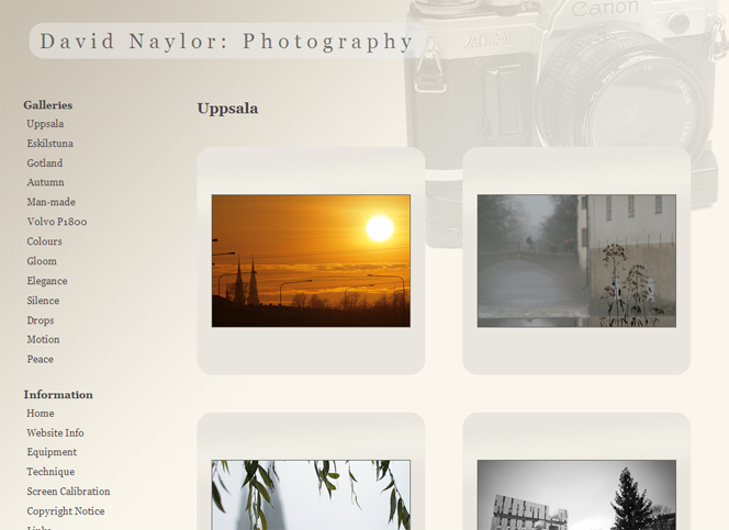 Screenshot of David Naylor's Photography website.